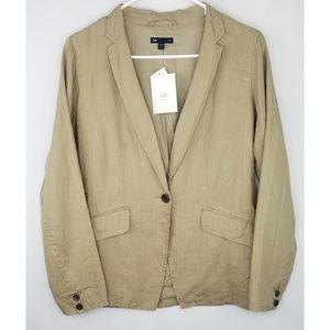 NWT Gap Linen Blazer Tan/Khaki Size 2